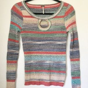 Free people sunshine dreamer striped knit sweater